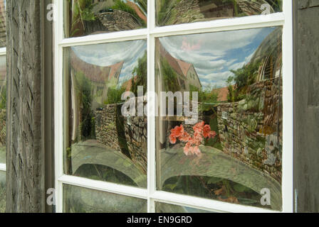 close up of old glass window with flower refection - Stock Image