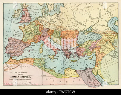 Map of the ancient Roman empire. Color lithograph - Stock Image