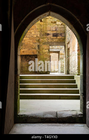 Interior of the 17th century extension to Belsay Castle, a 14th century peel tower, in Northumberland, England, UK - Stock Image