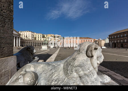 Naples (Italy) - Piazza Plebiscito, the main square in the historic centre of Naples, is enclosed on one side by - Stock Image