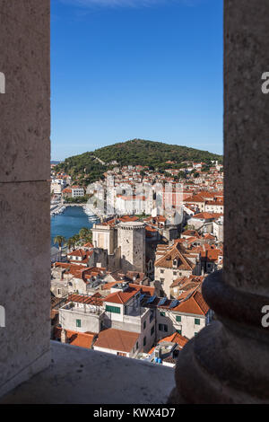 Aerial view of Marjan Hill from St. Domnius Bell Tower, Split, Croatia - Stock Image
