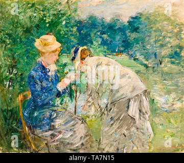 Berthe Morisot, In the Bois de Boulogne, painting, before 1880 - Stock Image