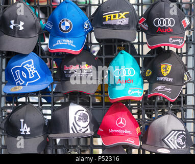 Motoring caps on a stand - Stock Image