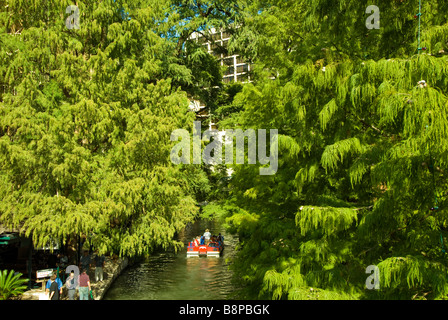 San Antonio River Walk riverwalk tour boat surrounded by green trees lining the river bank - Stock Image