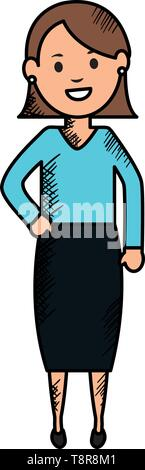 young woman avatar character vector illustration design - Stock Image