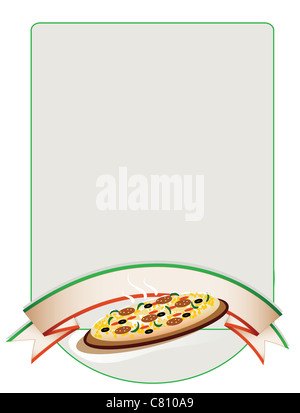 vector illustration background with pizza and banner - Stock Image