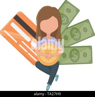 Woman avatar design, Money financial item commerce market payment  invest and buy theme Vector illustration - Stock Image
