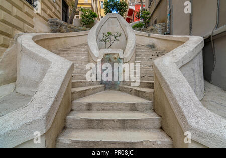 Kamondo Stairs, a famous pedestrian stairway leading to Galata Tower, built around 1870, located on Banks Street in Galata (Karakoy) district - Stock Image