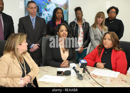 """During a press conference at the law offices of Hilaire McGriff PC, it was announced that former nurses in the Labor & Delivery (""""L&D"""") Department of Huntington Memorial Hospital in Pasadena, California, Martha Beltran and Veronica Loving, filed suit against the hospital alleging discrimination and retaliation  Featuring: David McGriff, Martha Beltran, Barry M. Appell, Mika Hilaire, Tanoka Reed, Ainsley Benavides, Tianee Alexander, Veronica Loving Where: Los Angeles, California, United States When: 20 Dec 2018 Credit: Sheri Determan/WENN.com - Stock Image"""