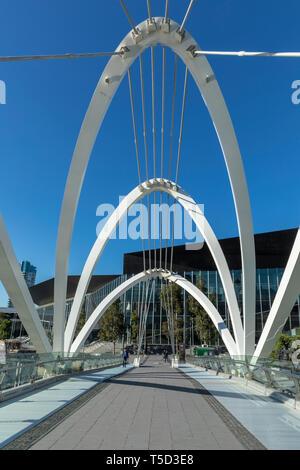 Seafarers pedestrian bridge across the Yarra River near Melbourne Convention Centre, Melbourne, Australia - Stock Image