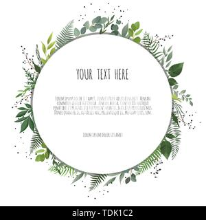 Vector floral design card. Greeting, postcard wedding invite template. Elegant frame with rose and anemone. - Stock Image