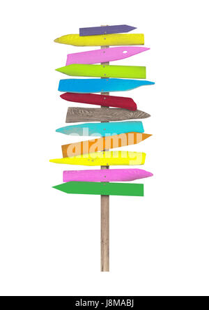 bright colorful blank wooden directional beach signs on pole, isolated on white background - Stock Image