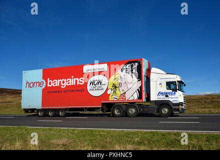 Home Bargains Trailer hauled by Wm.Pringle & Son Limited HGV. M6 motorway Southbound carriageway, Shap, Cumbria, England, United Kingdom, Europe. - Stock Image