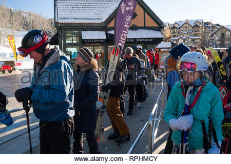 People waiting in line for the Free Gondola, Mountain Village, San Miguel County, Colorado, USA - Stock Image