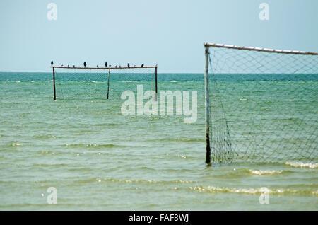 Football pitch on the tidal flats of Nyangai island, the Turtle Islands, Sierra Leone. - Stock Image