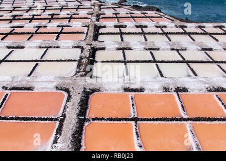 Different colors during the salination evaporation process in the salt fields of Fuencaliente, La Palma Island, Canary Islands, Spain - Stock Image