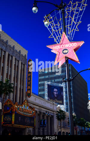 Star sign on Hollywood Boulevard with details in the background, Los Angeles, California - Stock Image