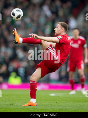 Hampden Park, Glasgow, UK. 14th Apr, 2019. Scottish Cup football, semi final, Aberdeen versus Celtic; Greg Stewart of Aberdeen Credit: Action Plus Sports/Alamy Live News - Stock Image