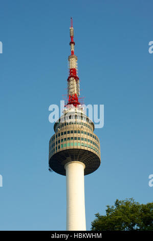 Seoul tower in summer in South Korea on the hill - Stock Image