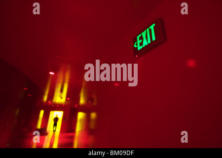 Inside the Seattle Library by the exit sign - Stock Image