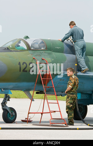 Croatian Air Force MiG-21 BISD fighter maintenance, Pleso AFB during 'open day' visit in 2007 - Stock Image