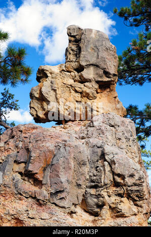 Sandstone formation resembling a human head in Bryce Canyon National Park, Utah, USA. - Stock Image