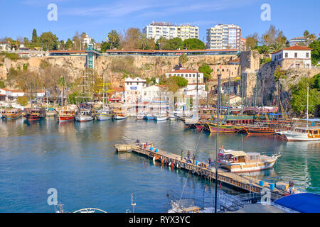 Antalya marina as seen from the city ramparts. Antalya, Turkey - - Stock Image