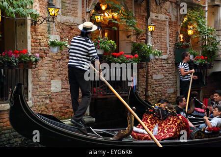 Gondola Venice Italy at night - Stock Image