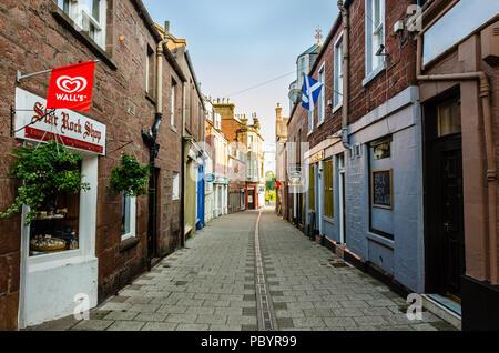 A street called Roods in Kirriemuir in Scotland - Stock Image