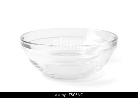 Transparent empty glass bowl for soup and salad, with a path isolated on white background. - Stock Image