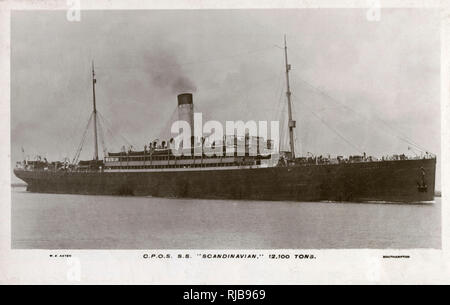 The RMS Scandinavian (12,100 tons) transatlantic liner - which ran the UK to Canada route out of Southampton. - Stock Image
