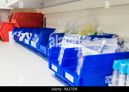 Plastic tubs containing medical equipment, including butterfly needles, vacutainers, torches etc for taking blood samples in a hospital treatment room - Stock Image