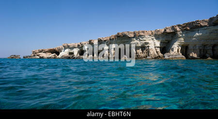 The Sea Caves, at Cavo Greco, not far from Ayia Napa, Cyprus. People at sea sometimes call this the Palace, due - Stock Image
