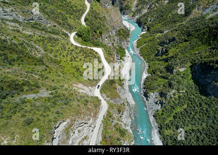 4x4 on road into Skippers Canyon, near Queenstown, South Island, New Zealand - aerial - Stock Image