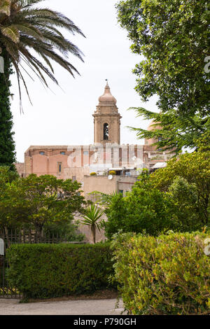 Italy Sicily medieval walled town Erice on Monte San Giuliana cult Venus Erycina dome bell tower view Chiesa di S Giuliano St Saint Church - Stock Image