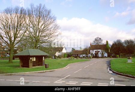 Sarratt Village Green featuring The Boot Public House, Hertfordshire - Stock Image