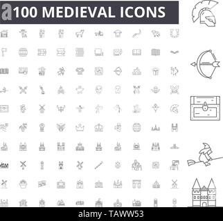 Medieval line icons, signs, vector set, outline illustration concept  - Stock Image