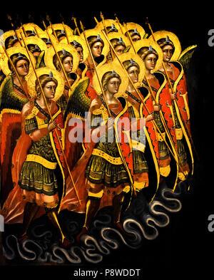 Schiera di angeli armati (Arcangeli ? ) Array of armed angels (Archangels?) Guariento di Arpo (1310 – 1370), 14th-century painter in Padua.  Italy Italian - Stock Image