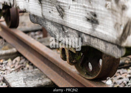 Old wooden cart on rails as used in mining and quarrying during the 18th and 19th century. - Stock Image