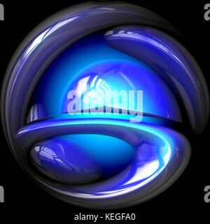 Glowing blue sphere - Stock Image
