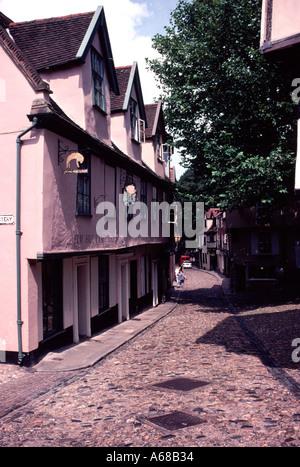 Elm Hill Norwich Norfolk England - Stock Image