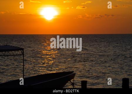 Sunset over Holbox Island, Quintana Roo, Yucatán Peninsula, Mexico, a unique Mexican destination in the Yucatan - Stock Image