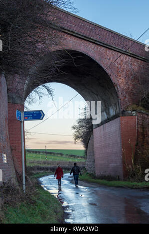Brick arch railway viaduct, Hudson Way Rail Trail on the route of former York to Beverley railway, Kiplingcotes, - Stock Image