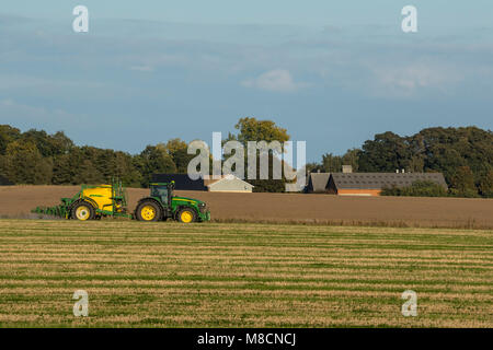 Spraying with insecticide, white clover for seed production - Stock Image