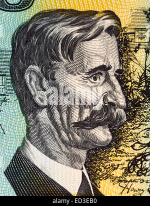 Henry Lawson (1867-1922) on 10 Dollars 1966 banknote from Australia. Australian writer and poet. - Stock Image