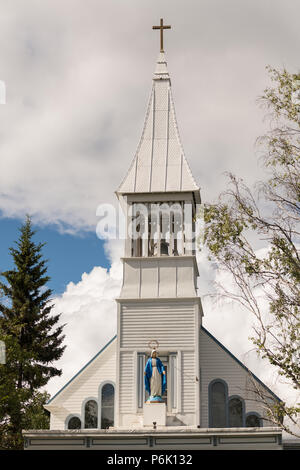 Immaculate Conception Parish church in Fairbanks, Alaska. The wooden church was built in 1904 by Father Francis Monroe, it was the first Roman Catholic Church erected in Alaska's interior. - Stock Image