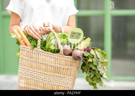 Holding bag full of fresh organic vegetables from the local market on the green background - Stock Image