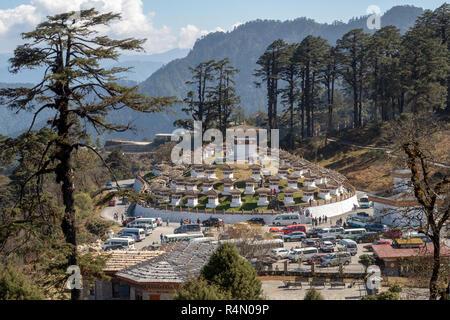 Chortens at Dochu la pass, Bhutan - Stock Image