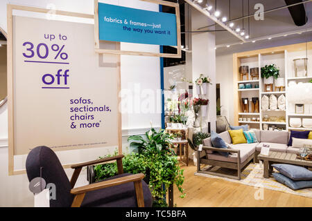 Miami Florida Midtown The Shops at Midtown Miami shopping West Elm home retailer store business inside display sale furniture 30% off - Stock Image