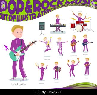 A set of school boy in sportswear playing rock 'n' roll and pop music.There are also various instruments such as ukulele and tambourine.It's vector ar - Stock Image